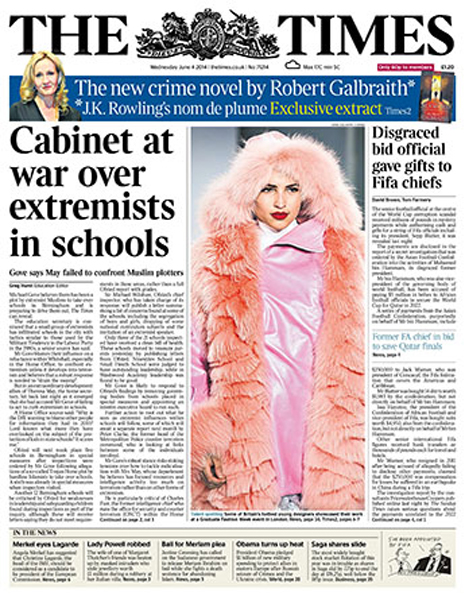 A look showcased by Kingston University fashion student Lauren Lake during Graduate Fashion Week has appeared on the front cover of The Times.