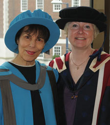 Author Wendy Perriam (left) with Dr Alison Baverstock, course leader for MA Publishing, who said that Wendy was 'Kingston's treasure'.