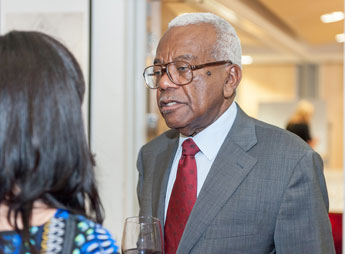 Sir Trevor McDonald shared further words of wisdom when he mingled with staff and students after his  lecture.