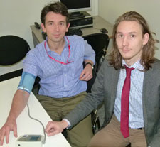 Dr Mark Carew (left) and third year pharmacy student David Kolosic.