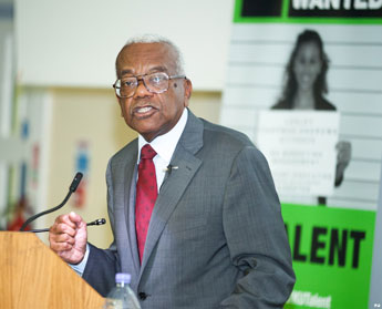 Sir Trevor McDonald gave his student audience plenty of food for thought during the event organised by the University's KU Talent team.