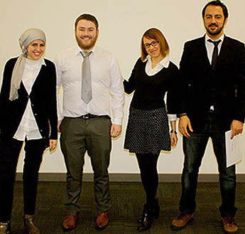 The students involved in the research were (l-r) Sarah Abuzeid, Ciaren Lawless, Ksenia Agapova and Cihan Negiz