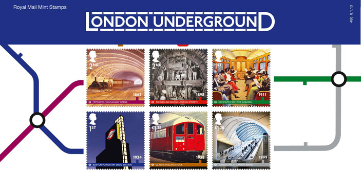 Royal Mail has issued a set of ten stamps using iconic images from London Underground's history.