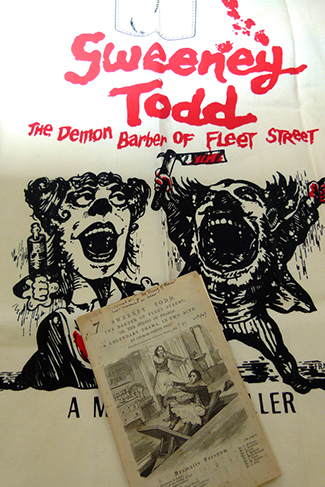 This Sweeney Todd apron forms part of a treasure trove of musical theatre memorabilia from the work of Stephen Sondheim