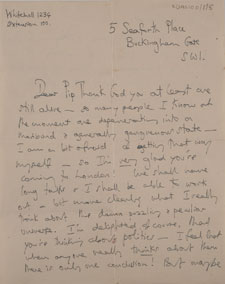 One of the letters written by Iris Murdoch to Philippa Foot during the period she lived at Seaforth Place in London.