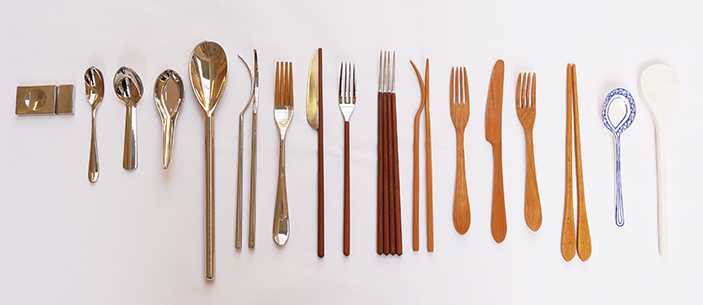 The 'Wesiental' cutlery is fashioned from a mixture of bamboo, stainless steel, clay and beech wood.