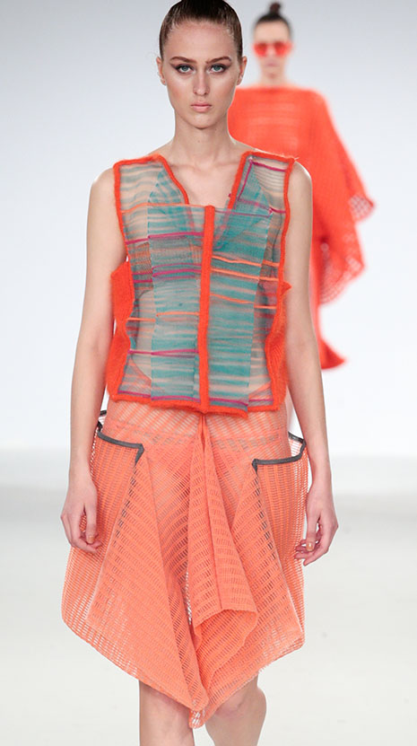 Kingston University fashion student Camile Hardwick was shortlisted for the coveted Stuart Peters Visionary Knitwear award at Graduate Fashion Week for her latest womenswear collection.