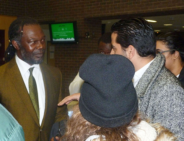 Sauce king Levi Roots took time to chat with Kingston students after giving his speech