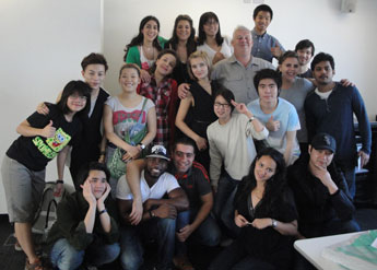 Ian Noble with some of his MA students in the studio at Kingston University.