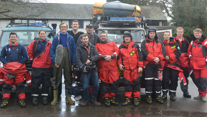 Kingston University's Dr Ian Greatbatch, far left, and his Lowland Rescue colleagues featured on BBC Television's The One Show as the full effects of the flooding hit the headlines.