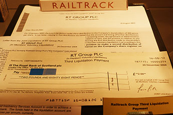 As well as archive documents, Kingston University's Muir Hunter Museum of Bankruptcy includes items associated with high-profile bankruptcy cases like that of train infrastructure company Railtrack in 2004