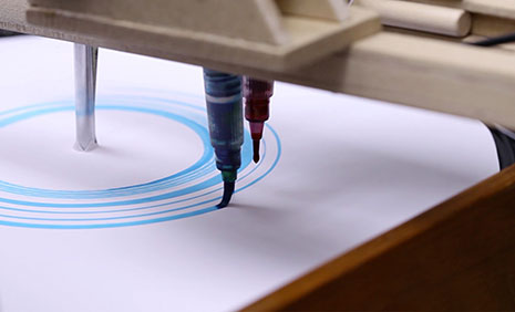 The film The Opera Machine, by illustration animation student Doug Hindson, features a device that uses ink brushes to translate the vocals of la bohème onto a piece of paper placed on a record turntable.