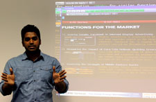 PhD student John Pereira, pictured right, said it was really useful to be familiar with the technology used by traders.