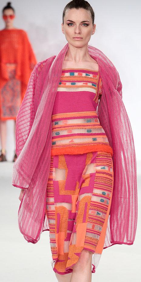 Kingston University fashion student Camille Hardwick settled on vibrant shades of sunset orange and hot fuchsia for her striking range of sophisticated womenswear showcased during Graduate Fashion Week.