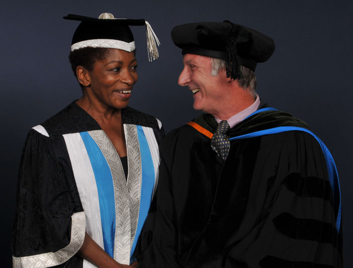New Kingston University Chancellor Bonnie Greer with the Director of Kingston Writing School Dr David Rogers.