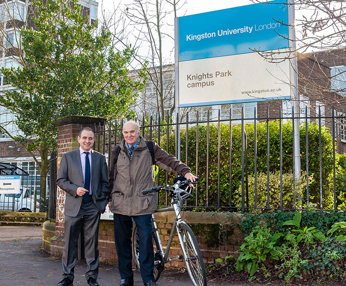 Dr Vince Cable MP showed Vice-Chancellor Professor Julius Weinberg that he practises what he preaches with regards to green travel, following the visit to Kingston University.