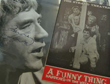 Amongst the memorabilia is a signed photo of Frankie Howerd starring in the 1963 London premiere of A Funny Thing Happened On The Way To The Forum.