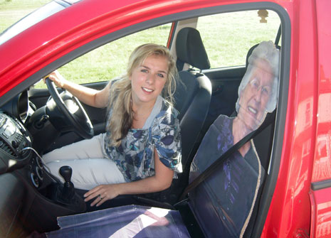 Mollie Courtenay created a carboard cut-out of her gran as part of a package of road safety measures aimed at young driivers.