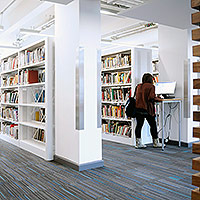 Student using library services