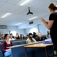 Lecturer presenting to students