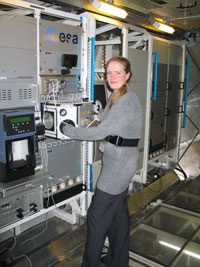 Victoria in the Biolab at the Columbus Laboratory, which is European Space Agency's biggest contribution to the International Space Station.