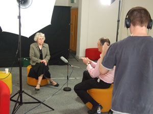 Professor Sarah Sayce speaks the film crew about green initiatives at Kingston.