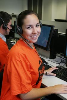 Student Amy Carr gets ready to answer calls on the Clearing hotline.