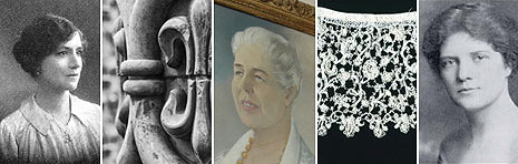 Female entrepreneurs of yesteryear (left to right) Rosa Lewis, Eleanor Coade (stone), Beatrice Gordon Holmes, Hester Pinney (lace), and Margaret Haig Thomas. Photos  with permission from Addidi.