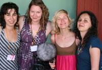 Kingston University's all-women w.in.c films collective (From left to right) Sabela Pernas Soto, Abbe Fletcher, Petra Niskanen and Claudia Vásquez Ramirez attracted the attention of Cuban television and radio.