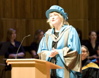 Shelley Page enthralled the audience at the Faculty of Art, Design and Architecture graduation ceremony with tales of her rise through the animation industry.