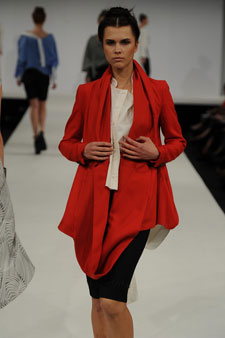 Vic Riches' collection makes use of bold colours, including blood red, sky blue and steel grey.
