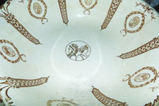In a break from tradition, the design of this Austrian washing bowl features a couple facing away from each other.