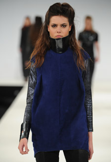 All the outfits in Alicia Duncan Smith's collection have high necks and distinctive sculpted shoulders.