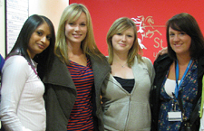 After the filming actress Amanda Holden spent time chatting with the students in the coffee bar