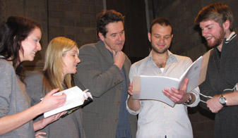 Professional actors Adrian Lukis (who plays Jaques) and David Sturzaker (Orlando) rehearse with Kingston students.