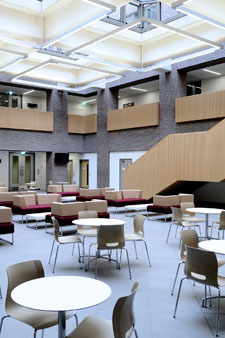 A light and airy atrium is at the heart of the new Kingston Business School.