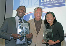 Leslie Thomas, right, collected his trophy from Michael Mansfield QC, centre, along with fellow award-winner and Garden Court Chambers colleague Shu Shin Luh.