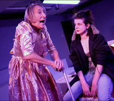 On stage, Janet Henfry as Nana Nola and Beatie Edney as Della. Photos by Sheila Burnett