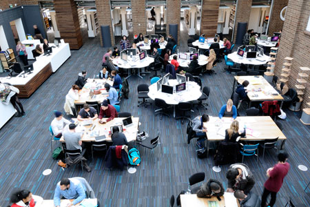 The new centre is a conversion of a former courtyard in a 1930s quadrangle – the space is light and airy and ideal for individual or group work.
