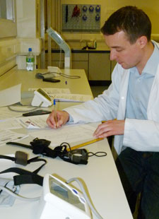 Dr Chris Easton recorded results from physical exercise tests to assess the players' fitness levels.