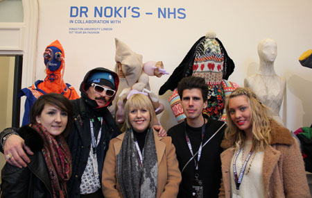 Designer Dr Noki, second left, with Kingston University fashion director Elinor Renfrew, centre, and students Steph Smith, Juan Torkel Spade and Rebecca Partington at the Estethica exhibition.