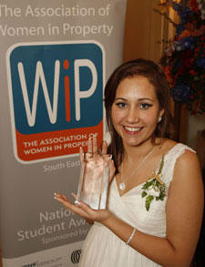 Elsie North of Kingston University collects Women in Property's National Student Award.