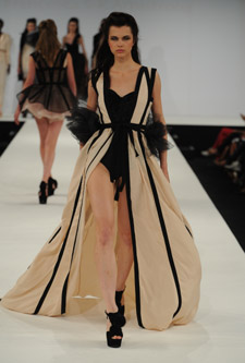 Francesca Armstrong's collection debuted at Kingston University's show at Graduate Fashion Week.