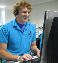 Kingston University student Fraser Robinson is a Clearning hotline supervisor.
