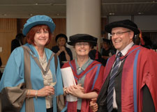 Jane Salvage, left, is congratulated by Associate Dean for Research Professor Vari Drennan and Iain Beith, Head of the School of Rehabilitation Sciences, following the award ceremony.