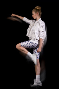 Kingston University MA Fashion graduate Niamh O'Connor has drawn on her fascination with everyday human movement, mannerisms and expressions for her range of sports couture. Image: Roberto Da Silva