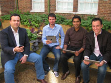 Kingston researchers Dr Christos Politis, Arvind Ramrekha, Emmanouel Panaousis and Grant Millar believe their invention has huge potential to aid rescuers' communication in the aftermath of terrorist events and natural disasters.