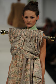 One of Alice Maughan's dresses was made from vintage curtains complete with a curtain pole.
