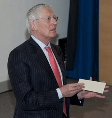 Nick Hewer told students that higher tuition fees could deter poorer students from going to university.