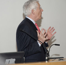 Nick Hewer addressed students at Kingston University's Lawley Lecture Theatre.